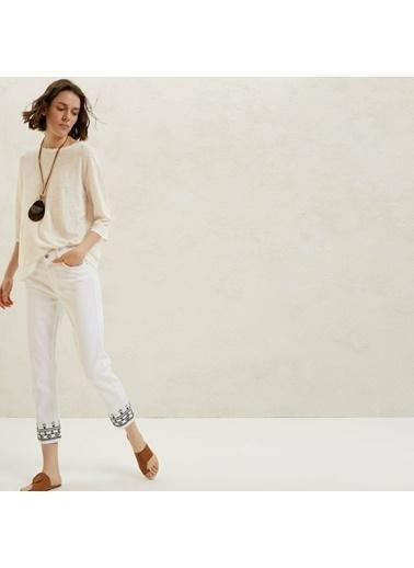 Yargıcı Yan Dikiş Detaylı 5 Cep Pantolon Beyaz